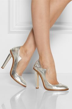 8e8165cecc8 Christopher Kane - Metallic leather and mesh pumps