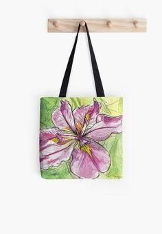 Pink Water Iris Flower Tote Bag  small medium or by ElaSteelArt