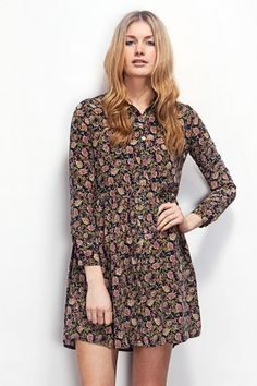 Navy floral pattern shirt dress