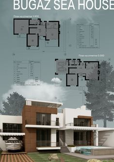 Gostei do tipo de imagem para capa de projectos Architecture Concept Drawings, Architecture Board, Architecture Portfolio, Residential Architecture, Modern Architecture, Modern House Plans, Modern House Design, House Musik, Architecture Presentation Board
