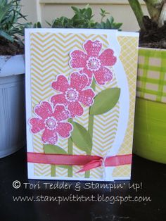 Tri-Fold Birthday Card using Pansy Punch and Flower Shop stamp set, Adorning Accents Edgelits, Ridinghood Red Ribbon. Stampin' Up! © Tori Tedder www.stampwithtnt.blogspot.com
