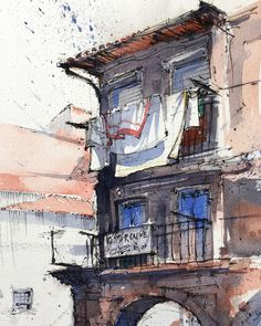 Photo by Alex Hillkurtz in Porto, Portugal Architectural Sketching with Watercolor and Ink by Alex Hillkurtz, Ink Sketching With Watercolor Watercolor Journal, Watercolor Trees, Watercolor Artists, Watercolor Sketch, Watercolor Portraits, Watercolor Landscape, Watercolor Paintings, Abstract Paintings, Watercolor Architecture