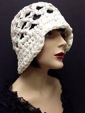 винтажный 20-е Saks Fifth Ave слоновой кости свадебное сплетенный атласная Cloche женщин черепа шляпа
