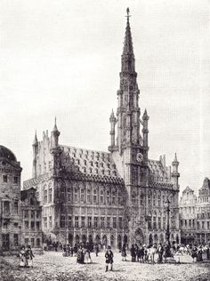 Black and white drawing of the Hôtel de Ville in Brussels by Benoist after N. Chapuy.