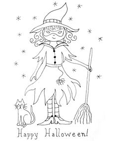 """Halloween embroidery sketch.  Pair it with the words, """"Hang Around for a Spell""""  ??"""