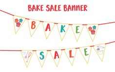 BAKE SALE BANNER Printable Party Banner and by BashandDash on Etsy
