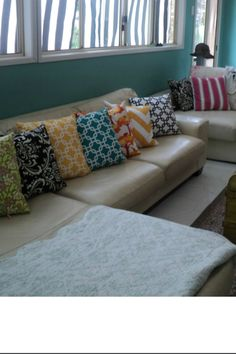 Let's add color in the way of throw pillows.