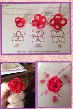 I fell in love with this little roses on the third attempt i started again from the original pattern the white thread was hidden using – Artofit Tatting Earrings, Tatting Jewelry, Tatting Lace, Crochet Earrings, Needle Tatting Patterns, Knitting Patterns, Crochet Patterns, Tatting Tutorial, Lace Making