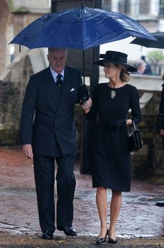 Norton Knatchbull, Earl Mountbatten of Burma accompanied by his wife Penny, Countess Mountbatten of Burma attends the funeral of his mother Patricia Knatchbull, Countess Mountbatten of Burma at St Paul's Church, Knightsbridge on June 27, 2017 in London, England. Patricia, Countess Mountbatten of Burma daughter of Louis Mountbatten, 1st Earl Mountbatten of Burma and third cousin of Queen Elizabeth II died aged 93 on June 13 2017.