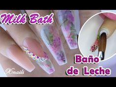 Milk Bath - Baño de Leche con Flores Secas Uñas Acrílicas / Xnails - YouTube 3d Nail Art, 3d Nails, Acrylic Nails, Mary Janes, Bella Nails, Milk Bath, Birthday Nails, Fancy Nails, Nail Spa