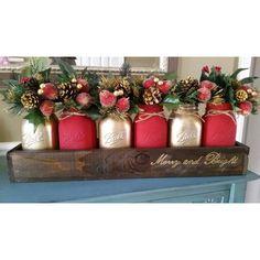Mason Jar Centerpice Rustic Christmas Decor Mason Jar Table Decor Red... ($65) ❤ liked on Polyvore featuring home, home decor, floral arrangements, grey, home & living, home décor, gold home decor, floral home decor, gold home accessories and red home decor