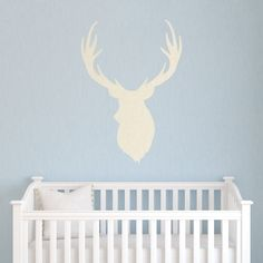 Linen Buck Head Printed Wall Decal