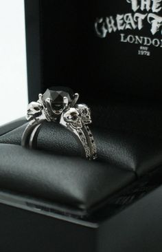 Black diamond skull engagement ring by The Great Frog in London Skull Jewelry, Gothic Jewelry, Jewelry Box, Jewelry Accessories, Skull Rings, Jewellery, Jewelry Tattoo, Black Jewelry, Jewelry Rings
