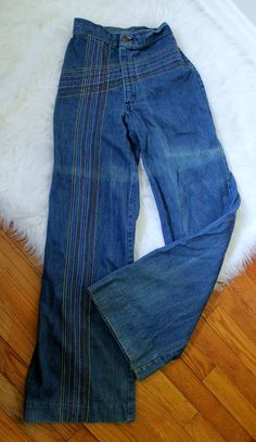 d00b64aa Vintage Rainbow Embroidered Bell Bottom Jeans // 1970's h.i.s. brand blue  jeans high waisted // Women or Girls Blue Jeans Size XS-S