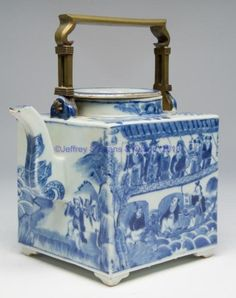 "CHINESE EXPORT PORCELAIN JIAQING PERIOD SQUARE TEAPOT AND FLAT COVER, WITH BRASS OVER-HEAD HANDLE, the teapot body on four low feet, painted in blue enamels with stylized flowers to top, the sides painted with the story of a Court journey over water. 1790-1840. 6 1/2"" H., not including handle."