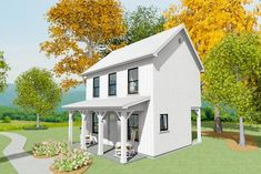 Exclusive Tiny Home Plan with Grill Porch - Br House, Story House, Small House Plans, House Floor Plans, Small House Kits, Fall Entryway Decor, Side Porch, Front Porch, Vertical Siding