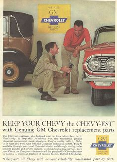 1962 ad: Genuine GM Chevrolet Replacement Parts