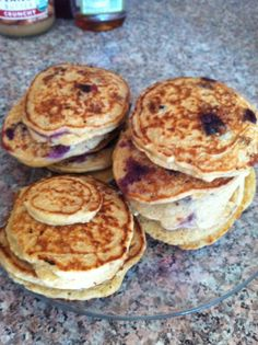 flourless blueberry pancakes stack
