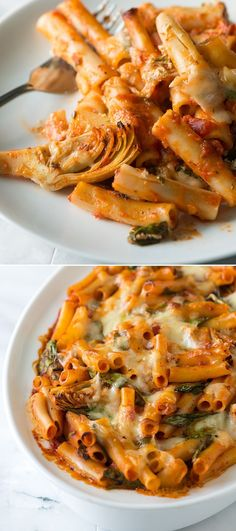 Baked Ziti with Spinach, Artichokes and Pesto -- An Easy pasta recipe you can make in under an hour. | From inspiredtaste.net