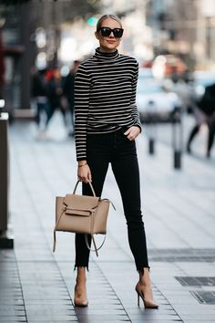 Fashion Jackson Nordstrom Black White Striped Turtleneck Sweater Black Skinny Jeans Nude Pumps Celine Mini Belt Bag