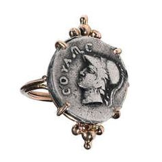 A Greek Silver Athena Coin mounted in a Gold Ring