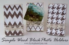 Under The Table and Dreaming: Make Your Own Wood Block Photo Frames / Note Holders {Simple Picture Displays}