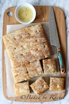 Thick Focaccia Bread with Garlic and Cheese Dipping Oil Recipe - bakedbyrachel.com