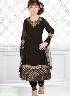 Modest Black Net Kids Designer Salwar Suit