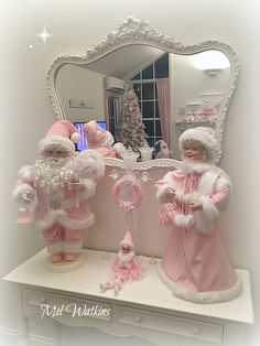 My animated Santa & Mrs. Claus with their red outfits painted pink! Pink Shabby Chic Christmas Pink Santa & Pink Mrs Claus ~ ~ Mel Watkins mylittlepinkshop on Etsy