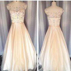Prom dress, Champagne prom dress,Crystal Prom dress,Backless