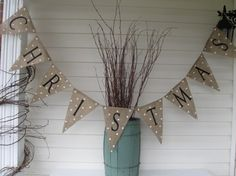 Jam...letters in white and pearl accent paint, no dots Burlap Christmas banner