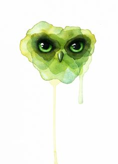 Green owl - Watercolor painting created by the Swedish artist Emma Andersson. Shop: https://www.etsy.com/ca/shop/greenfoxart/items
