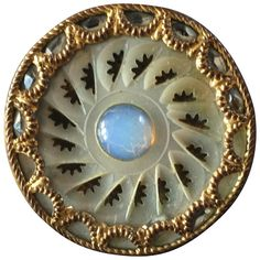 """Antique Georgian Carved Mother of Pearl Metal Opaline Glass Paste Button 1 1/8"""""""