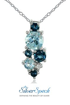 Sterling Silver London Blue, Blue and White Topaz Round Cluster Necklace #necklace #silver #blue #jewelry