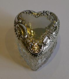 Small Antique Cut Crystal Heart Shaped Box Sterling Silver Lid 1899