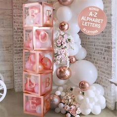 Baby Shower Decorations balloon boxes Jumbo Clear Transparent | Etsy Bride To Be Decorations, Wedding Shower Decorations, Engagement Party Decorations, Bachelorette Party Decorations, Bachelorette Parties, Rose Gold Party Decorations, Pink Bachelorette Party, Bridal Parties, Balloon Decorations