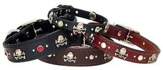 Skull & Crossbones Leather Dog Collar. $45.00, via Etsy.