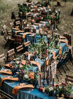 A Fall harvest wedding reception - with vibrant hues of orange and blue with a wonderfully unique table layout for a magical outdoor wedding. Party Fall Harvest Dinner Party at 2 Lads Winery Wedding Table Decorations, Wedding Themes, Wedding Colors, Wedding Dresses, Harvest Party, Fall Harvest, Wedding Dinner, Our Wedding, Outdoor Fall Wedding Reception