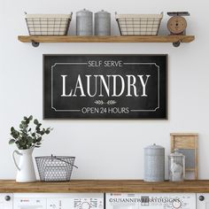 Excited to share this item from my #etsy shop: Self Serve Laundry Open 24 Hours - Framed Wood Sign - Farmhouse Wall Art - Laundry Wall Decor - Gift for Mom Kitchen Art, Kitchen Decor, Farmhouse Style Decorating, Decorating Your Home, Farmhouse Wall Art, Farmhouse Laundry Room, Kitchen Posters, Girls Bedroom, Bedroom Decor