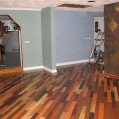 My awesome multi colored hardwood floor  Loving how it turned out     Multi Colored Wood Flooring