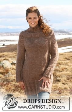 "Knitted DROPS tunic with raglan sleeves and rib in ""Eskimo"". Size S-XXXL. - Free pattern by DROPS Design"