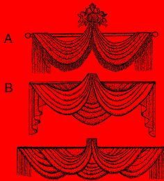Victorian Lifted Swag. Maybe one of these would work for the curtains? (Although not the panels.)