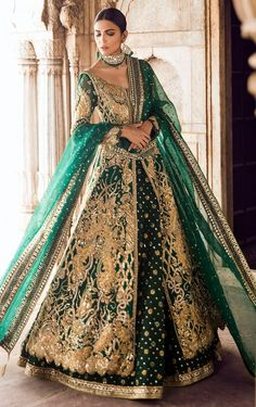 Exclusive Collection of Pakistani Bridal Dresses Online by Pakistani Designers to Buy for Pakistani Brides looking for a Traditional or Contemporary Bridal & Wedding Dresses. Indian Bridal Lehenga, Pakistani Wedding Dresses, Indian Dresses, Indian Outfits, Asian Wedding Dress, Muslim Wedding Dresses, Asian Bridal Wear, Green Wedding Dresses, Asian Bridal Dresses