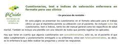 Acceso gratuito. Cuestionarios, test e índices de valoración enfermera en formato para uso clínico Quizes, Science, Health