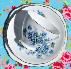 Royal Vale blue forget-me-not flowers vintage tea trio