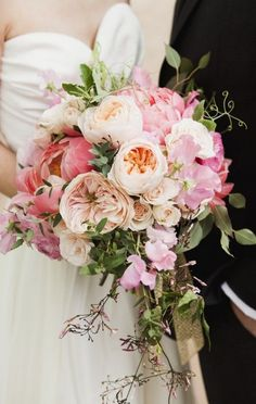 Bouquet 3 Gorgeous combination of coral peonies and peach garden roses!