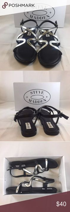 Steve Madden Bazz Womens Sandals Flat BlackSilver These Steve Madden sandals are new in box. They are a lovely flat black sandal with silver detail in size 8.5M. These sandals are perfect for spring days and summer nights. While being both fashionable and functional the Bazz flat are perfect for everyday wear. •New in original box •Fun silver detail •Women's size 8.5 Steve Madden Shoes Sandals