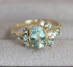 Custom Gemstone Cluster Ring Deposit by capucinne on Etsy - MAGNIFIQUE!! - THE COLOUR IS INCREDIBLY PRETTY, AS IS THE DESIGN!! - GORGEOUS!!