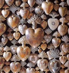 Sagrado Corazon - Ex-votos of silver, gilt bronze and crystals from Southern France, late c. Photo by Peter Vitale I Love Heart, With All My Heart, Happy Heart, Impression Poster, Talisman, Spiritus, Arte Popular, Vanitas, Objet D'art