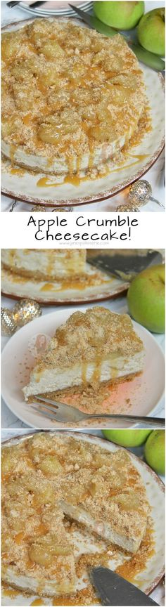 Apple Crumble Cheesecake!! Buttery Biscuit Base, Vanilla Cinnamon Apple Crumble Cheesecake Filling, and even more Crumble Apple Goodness on top.